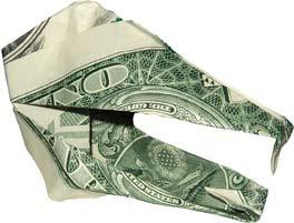 Alligator  money sculptures created by dollar
