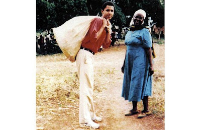 Barack Obama and his grandmother Sarah Hussein Obama hangs