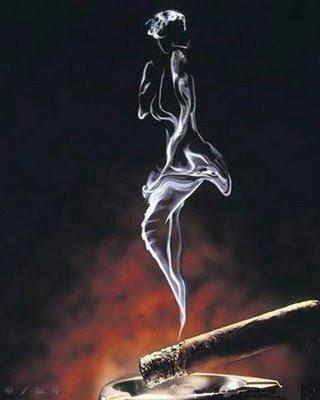Beautiful Lady In The Smoke Illusion