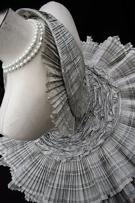 Paper dress made out of phone book paper