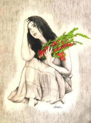 Drawing of a girl waiting for boy friend with flower in hand