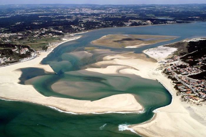 Aerial view of Foz do Arelho beach