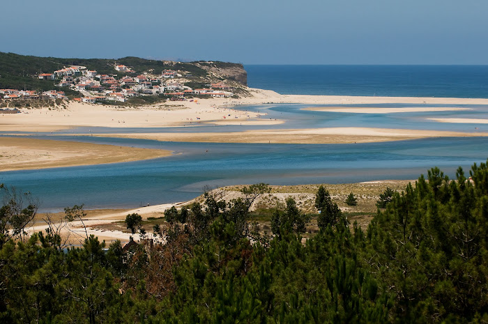 Lagoon and the sea behind, viewed from Foz do Arelho