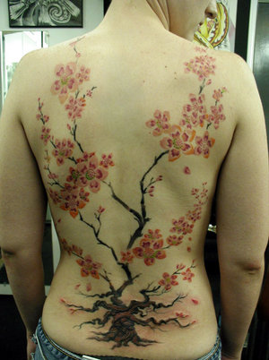 You see cherry blossom tattoos on many women these days as these such