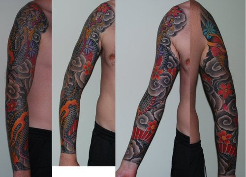 Comments: First session on this barn owl tattoo.This Sleeve Tattoo is in