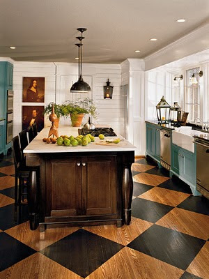 Decor cottages kitchens ideas cabinets colors painting for Painted hardwood floor ideas