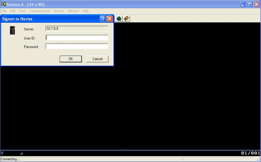 type ip address of your as400 server in system name field and click ok 5 next a session screen will open select user to prompt every time and click ok - As400 Computer System