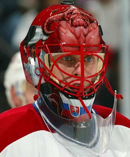 Is that not the most evil mask since the Lightning goalies sported the Saw IV billboards, or what?