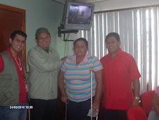 De izquierda a Derecha Alcalde, Mayor, y Presidente de Desarrollo Social