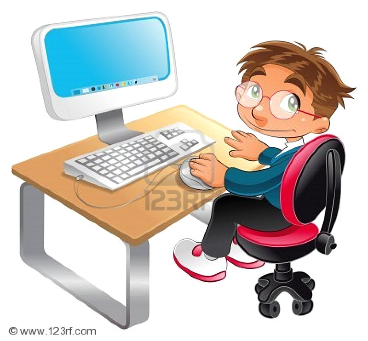 Cartoon Boy On Computer