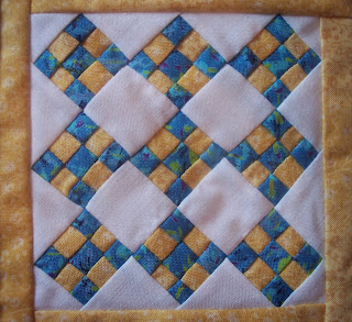 Little Blue and Yellow Nine-Patch Quilt