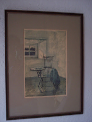 old art print of chair