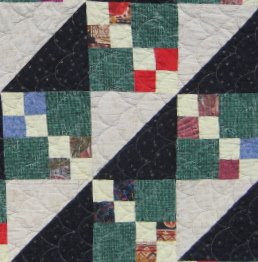 Triangle and Square Quilt in Black and Scrap Fabric