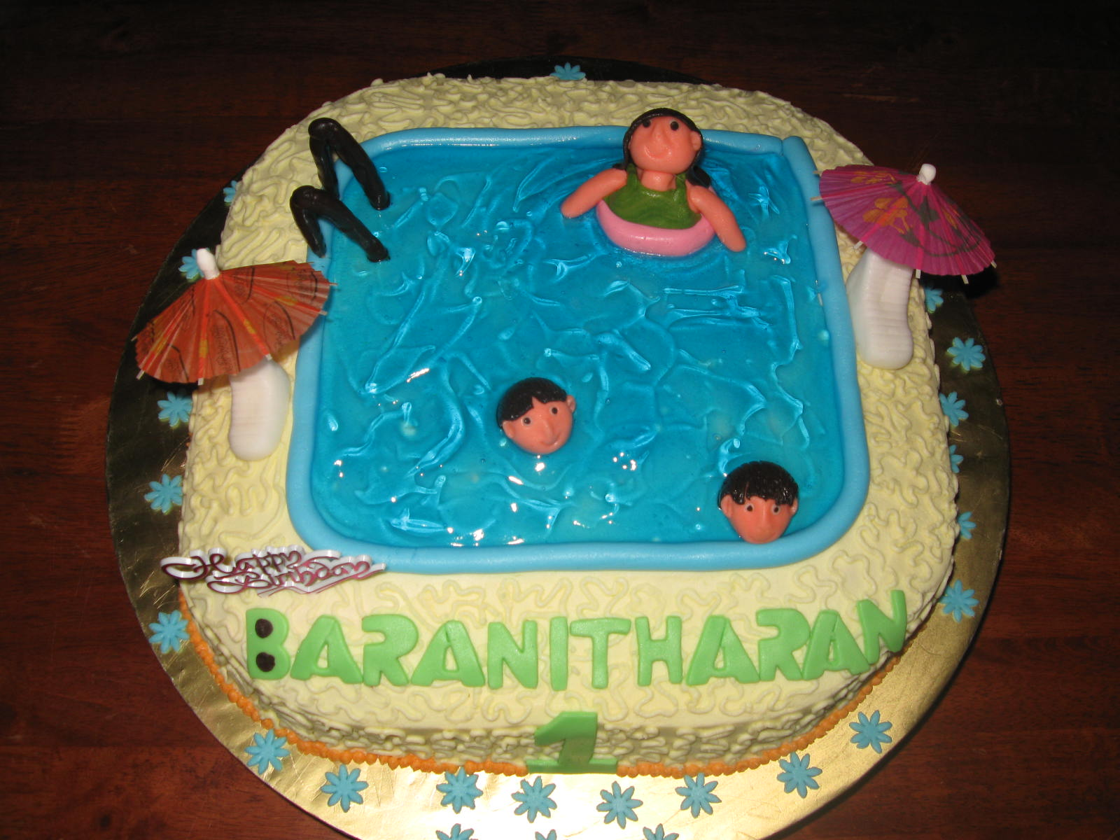 Cakes cupcakes for all occasions swimming pool cake for Swimming pool birthday cake pictures