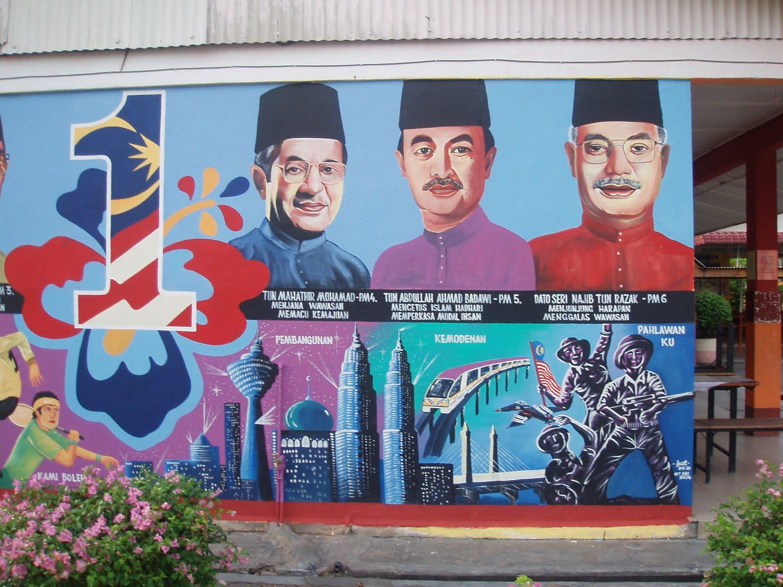 pelukis mural shah alam pm malaysia dan 1 malaysia