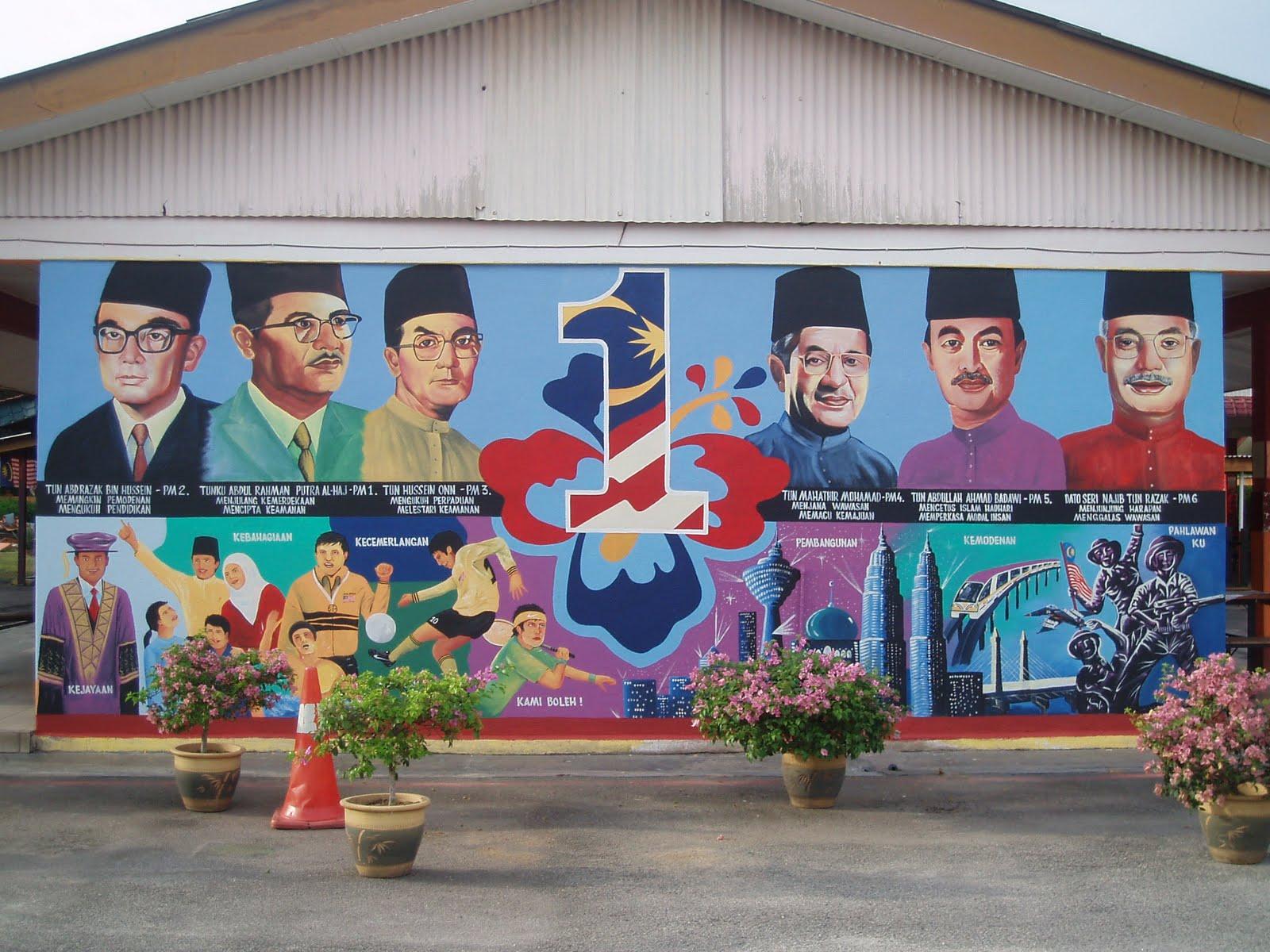 Pelukis mural shah alam pm malaysia dan 1 malaysia for Mural 1 malaysia