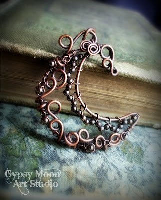 copper wire wrapped moon