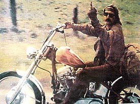 Dennis Hopper giving the finger in Easy Rider