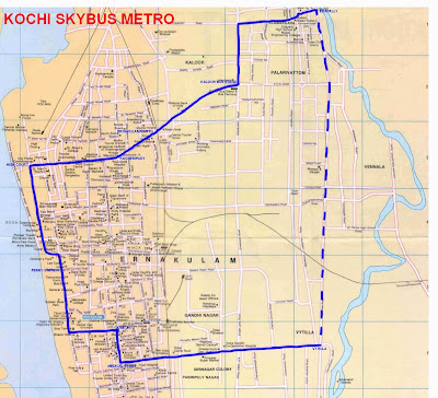 Kochi Metro rail route map - Click on the map to enlarge