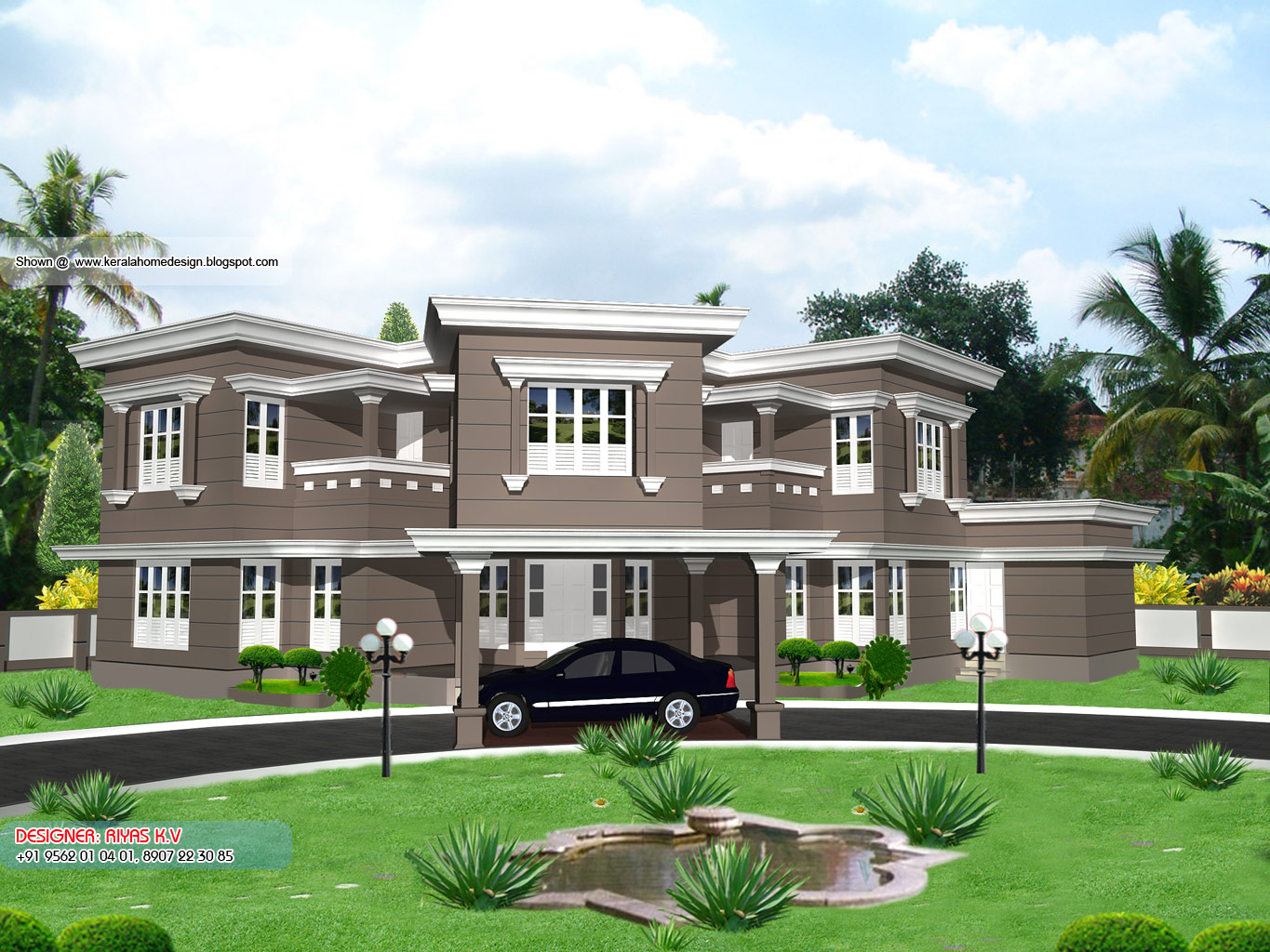 Kerala Home plan and elevation - 3604 Sq. Ft - Elevation View 1