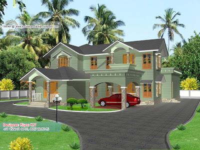 Kerala Home plan and elevation - 2850 Sq ft - Different Colour 1