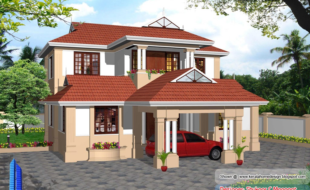 Kerala model villa plan with elevation 2061 sq feet for Kerala house front elevation models