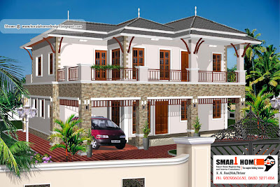 Kerala Home plan and elevation - 2811 Sq. Ft.