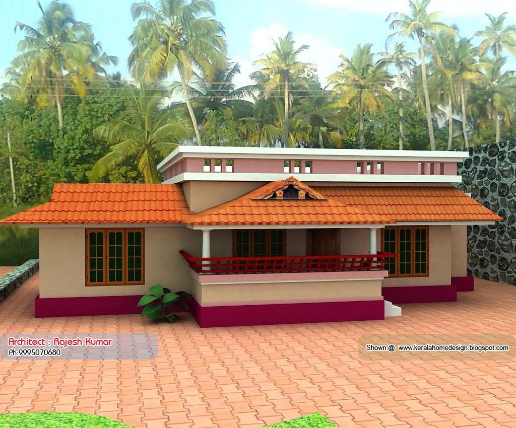 Home plan and elevation 1000 sq ft kerala house for Home designs 1000 sq ft