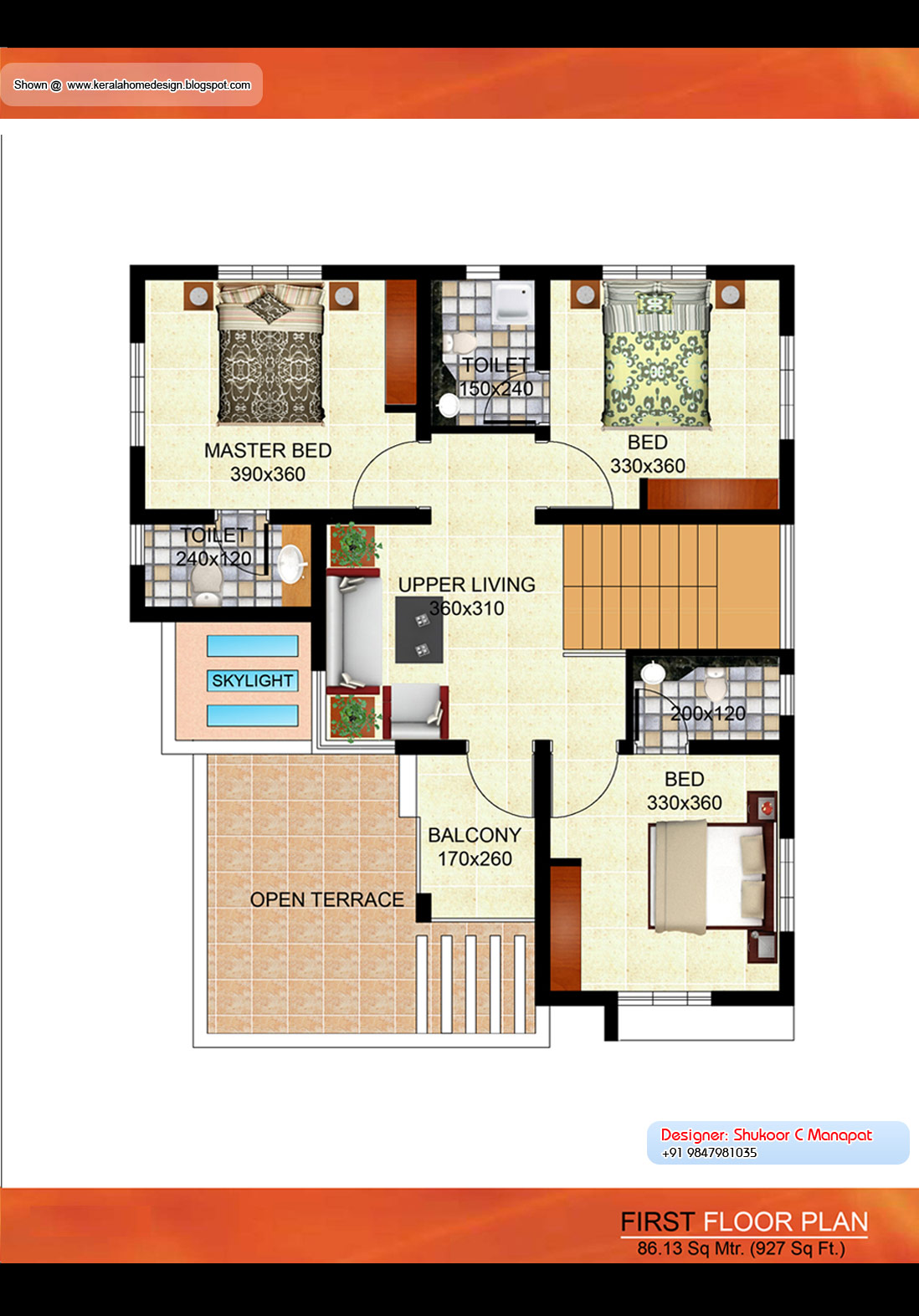 Kerala villa plan 2035 sq ft architecture house plans for Villa plans in kerala