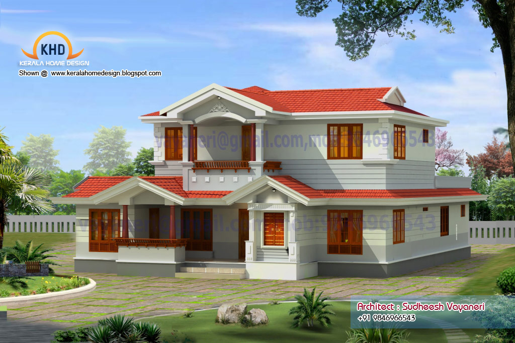 Home plan and elevation 2497 sq ft kerala home design for Elevation of kerala homes