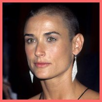 Demi Moore with a shaved head