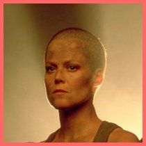 Sigourney Weaver with a shaved head