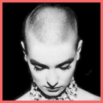 Sinéad O'Connor with a shaved head