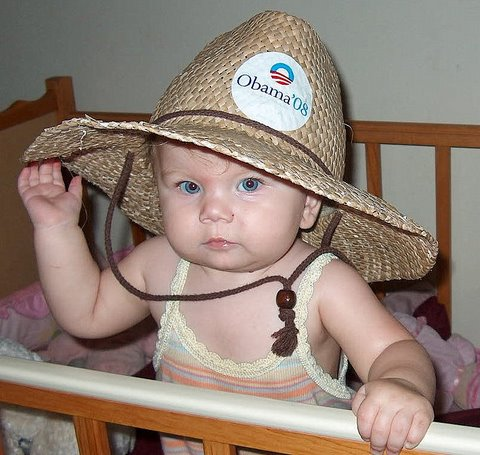 Ella in her favorite Obama hat!