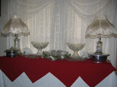 Close up of the sideboard with the two Early American Prescut Crystal ...
