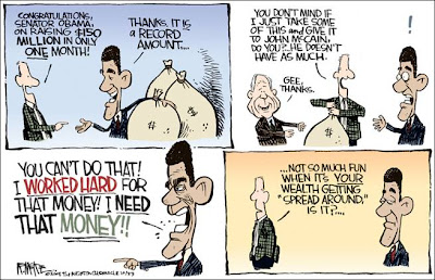 Political cartoon showing Obama with bags of contribution money and his angry reaction when it is suggested that the money be redistributed and a portion of it be given to McCain