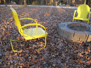 Bright yellow metal rocking lawn chairs