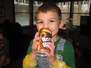 James drinking a soda