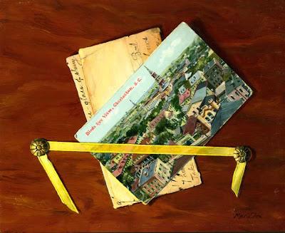 Trompe l'Oeil Painting: Old photo, original oil painting, Historic Charleston, S.C., old vintage postcards, fool the eye art, bird's eye view