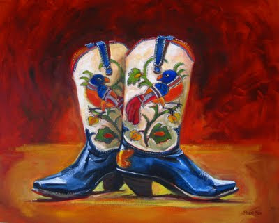 Cowboy Boots Painting 24 X 30 Oil Vintage Still Life Womens Cowgirl Red Tail Birds Butterflies Leaves