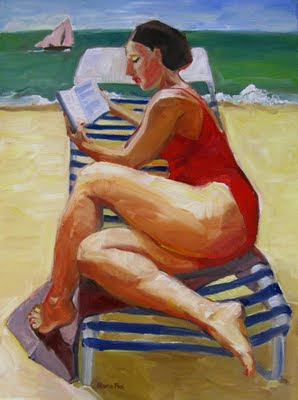 Woman at Beach Reading, Figure painting, beach art, original oil 18 x 24 figurative canvas, daily painting artist Marie Fox