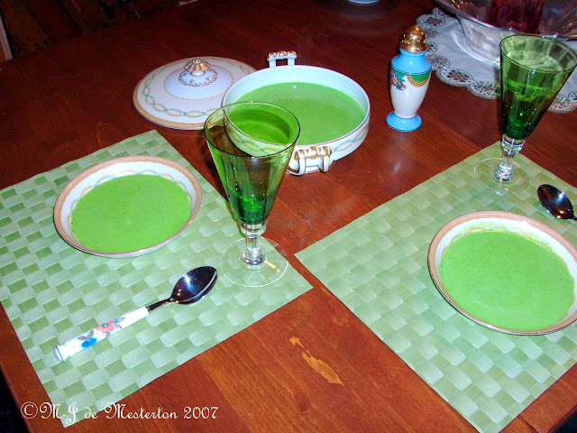 Elegant green pea soup