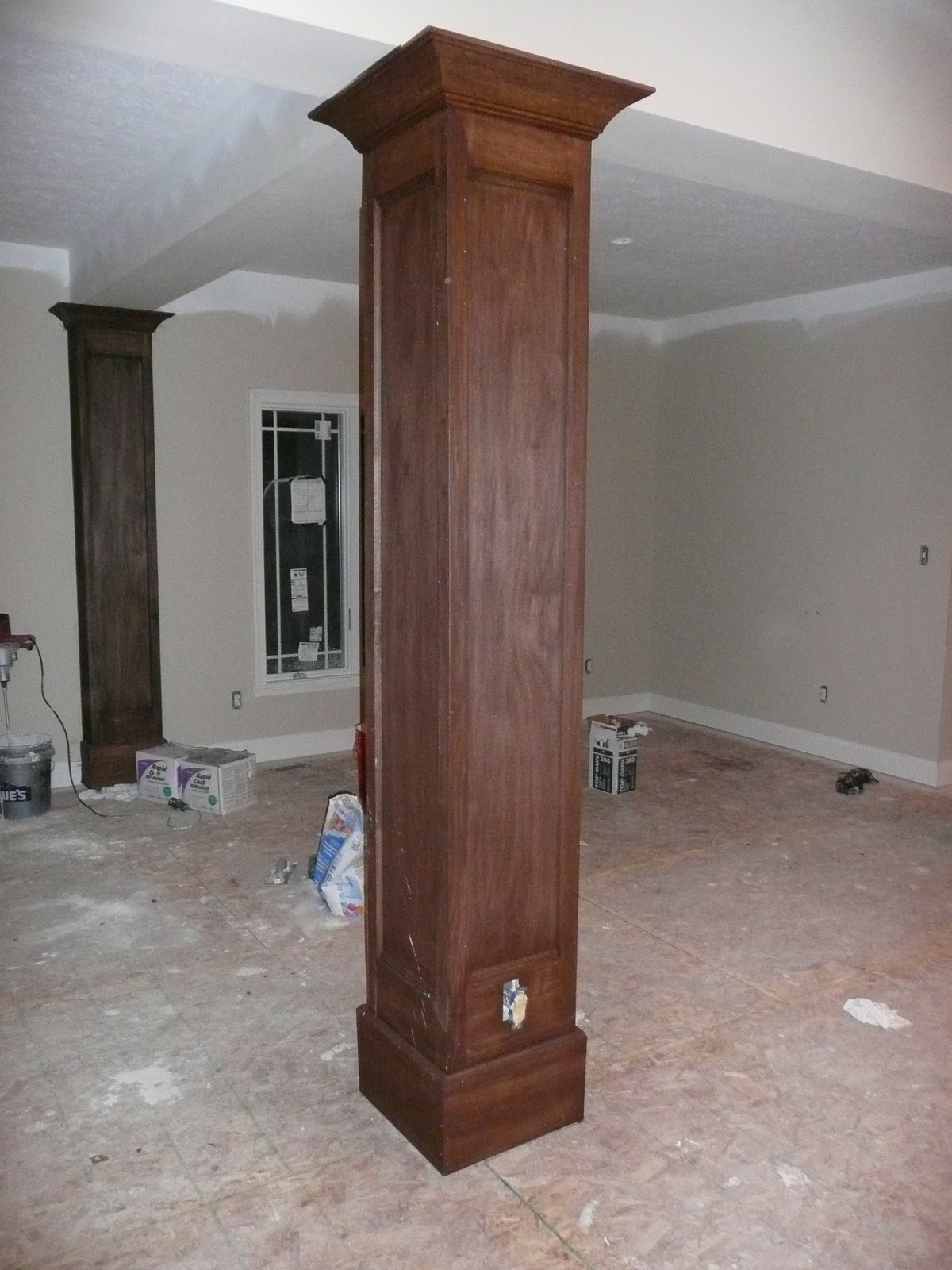 Steve and shelly 39 s new house wood trim stain and master for Interior support columns