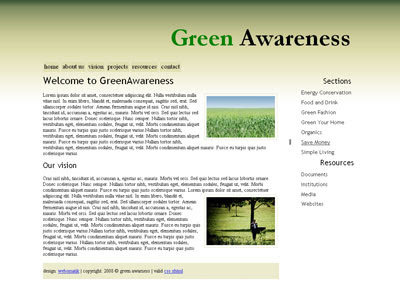green awareness website template