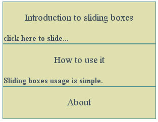 sliding boxes jQuery example