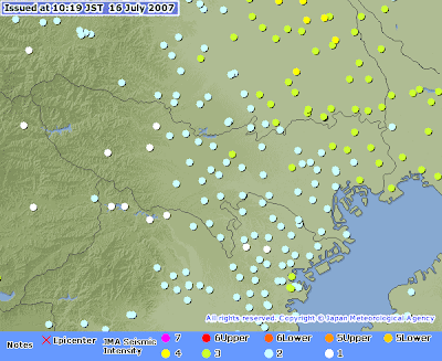 Earthquake Information Issued at 10:19 JST 16 Jul 2007 (Kanto)