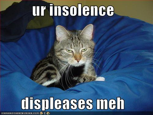 ur insolence displeases meh