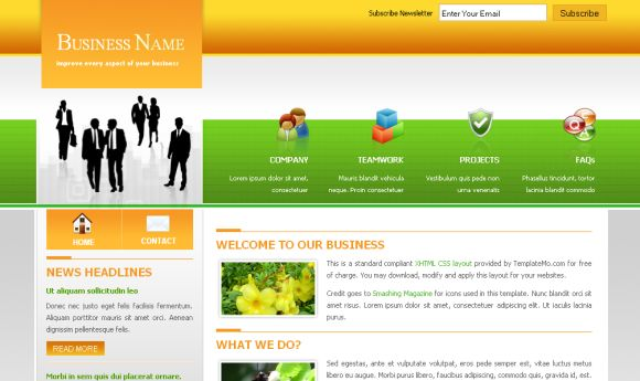 Orange Green Business Website Template