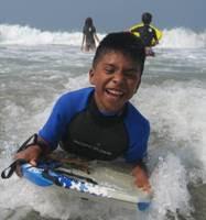 Boogie boarding at Aloha Beach Camp Summer Camp