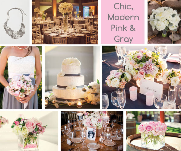 Pink and Gray Wedding Ideas Inspiration Board courtesy of